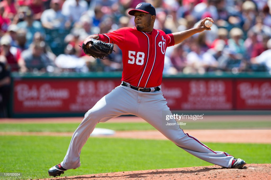 Relief pitcher Fernando Abad #58 of the Washington Nationals pitches during the sixth inning against the Cleveland Indians at Progressive Field on June 16, 2013 in Cleveland, Ohio.