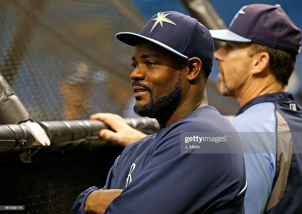 Relief pitcher Fernando Rodney #56 of the Tampa Bay Rays watches batting practice just before the game against the New York Yankees at Tropicana Field on April 23, 2013 in St. Petersburg, Florida.