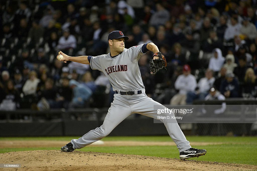 Relief pitcher Frank Herrmann #56 of the Cleveland Indians delivers against the Chicago White Sox at U.S. Cellular Field on September 26, 2012 in Chicago, Illinois. The Indians defeated the White Sox 6-4.