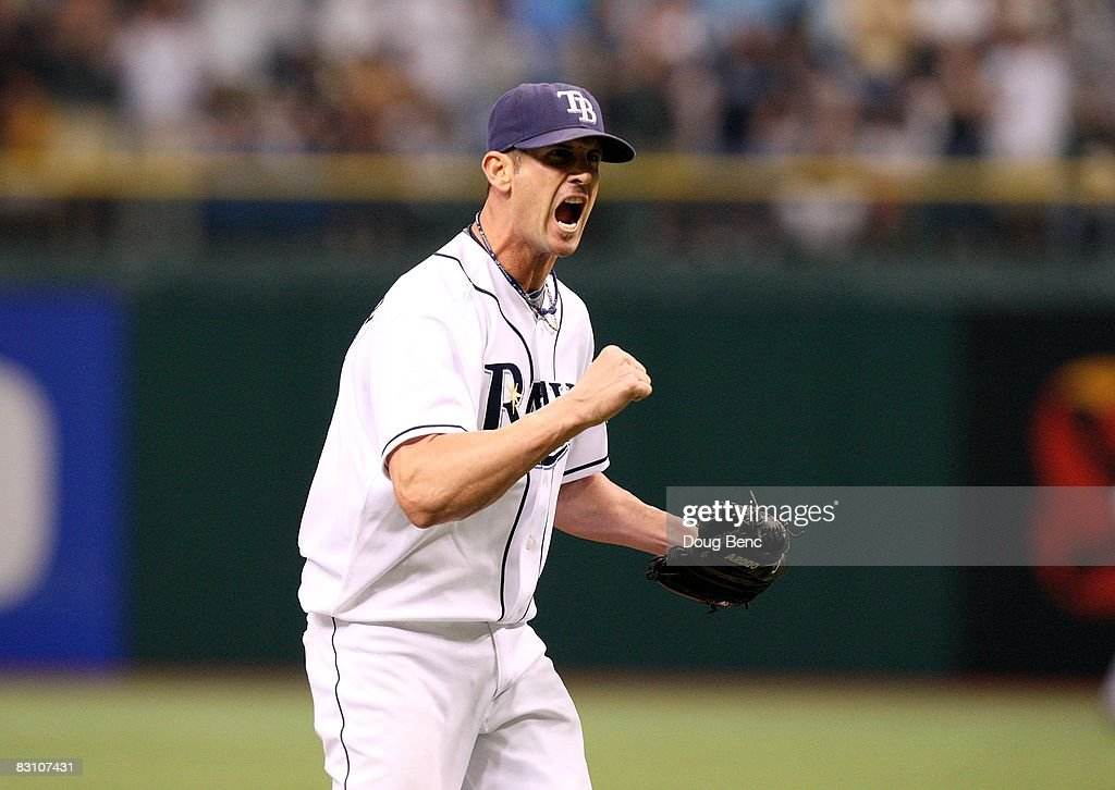 Relief pitcher Grant Balfour #50 of the Tampa Bay Rays celebrates after striking out Orlando Cabrera #18 of the Chicago White Sox in Game 1 of the American Leaugue Divisional Series at Tropicana Field on October 2, 2008 in St. Petersburg, Florida. The Rays defeated the White Sox 6-4.