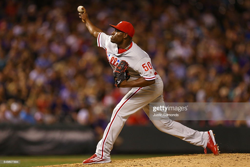 Relief pitcher Hector Neris #50 of the Philadelphia Phillies delivers to home plate during the eighth inning against the Colorado Rockies at Coors Field on July 8, 2016 in Denver, Colorado. The Phillies defeated the Rockies 5-3.
