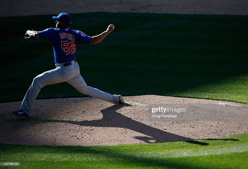 Relief pitcher Hector Rondon #56 of the Chicago Cubs delivers against the Colorado Rockies at Coors Field on April 12, 2015 in Denver, Colorado. The Cubs defeated the Rockies 6-5.