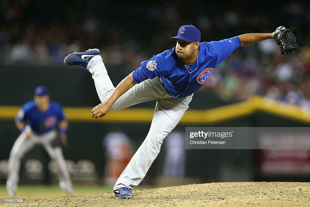 Relief pitcher Hector Rondon #56 of the Chicago Cubs pitches against the Arizona Diamondbacks during the MLB game at Chase Field on July 23, 2013 in Phoenix, Arizona.