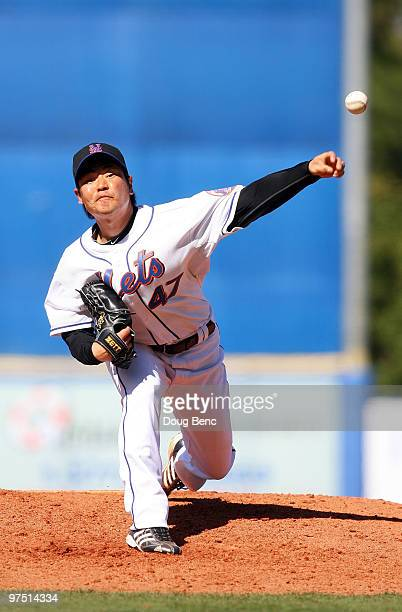 Relief pitcher Hisanori Takahashi of the New York Mets pitches against the Washington Nationals at Tradition Field on March 7 2010 in Port St Lucie...