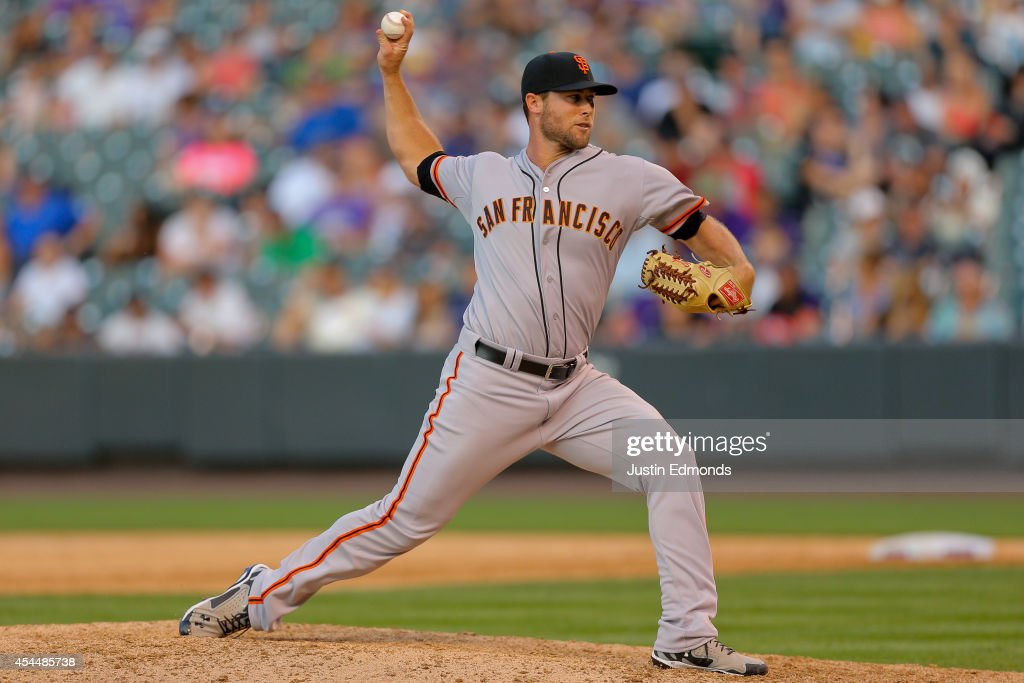 Relief pitcher <a gi-track='captionPersonalityLinkClicked' href=/galleries/search?phrase=Hunter+Strickland&family=editorial&specificpeople=10484033 ng-click='$event.stopPropagation()'>Hunter Strickland</a> #60 of the San Francisco Giants delivers to home plate during the eighth inning against the Colorado Rockies at Coors Field on September 1, 2014 in Denver, Colorado. The Rockies defeated the Giants 10-9 on a walk-off single by Charlie Blackmon.