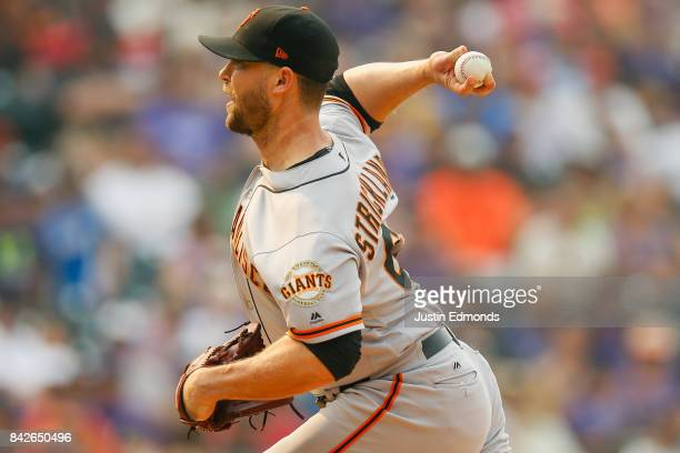 Relief pitcher Hunter Strickland of the San Francisco Giants delivers to home plate during the seventh inning against the Colorado Rockies at Coors...