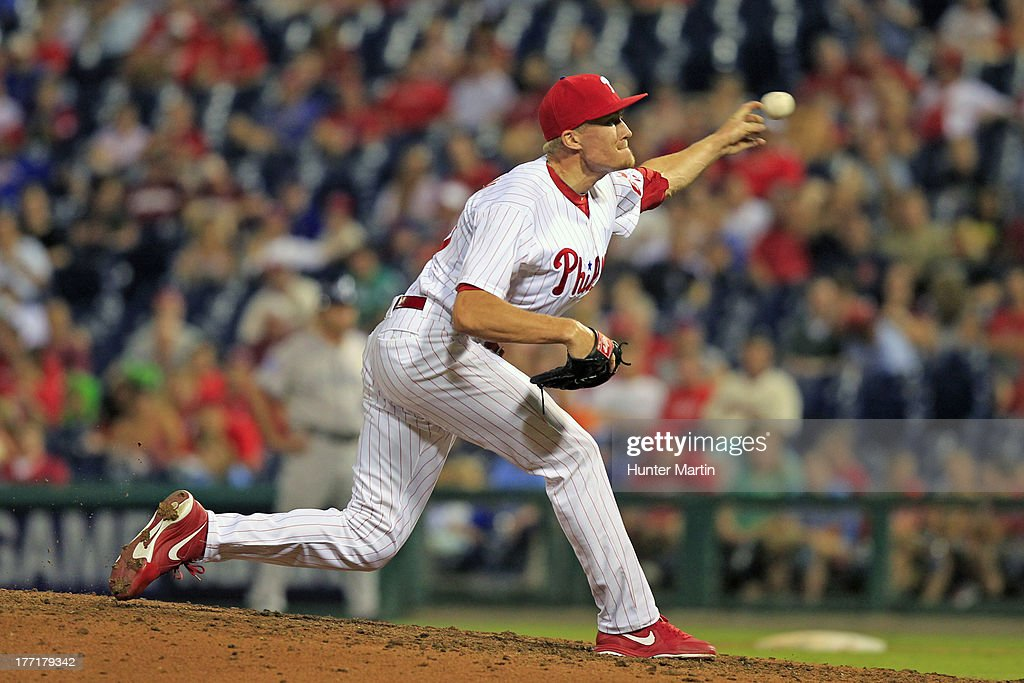 Relief pitcher Jacob Diekman #63 of the Philadelphia Phillies throws a pitch during a game against the Colorado Rockies at Citizens Bank Park on August 21, 2013 in Philadelphia, Pennsylvania. The Phillies won 4-3.