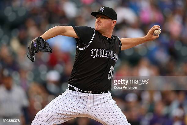 Relief pitcher Jake McGee of the Colorado Rockies delivers against the San Diego Padres in the ninth inning as he earned a save on April 10 2016 in...