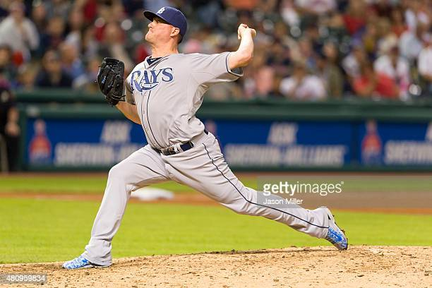 Relief pitcher Jake McGee of the Tampa Bay Rays pitches during the eighth inning against the Cleveland Indians at Progressive Field on June 19 2015...