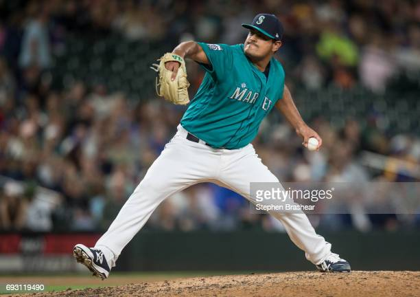 Relief pitcher James Pazos of the Seattle Mariners delivers a pitch during a game against the Tampa Bay Rays at Safeco Field on June 2 2017 in...