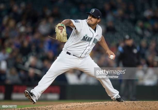 Relief pitcher James Pazos of the Seattle Mariners delivers a pitch during a game against the Tampa Bay Rays at Safeco Field on June 3 2017 in...