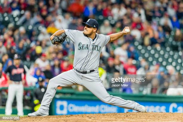Relief pitcher James Pazos of the Seattle Mariners pitches during the eighth inning against the Cleveland Indians at Progressive Field on April 28...