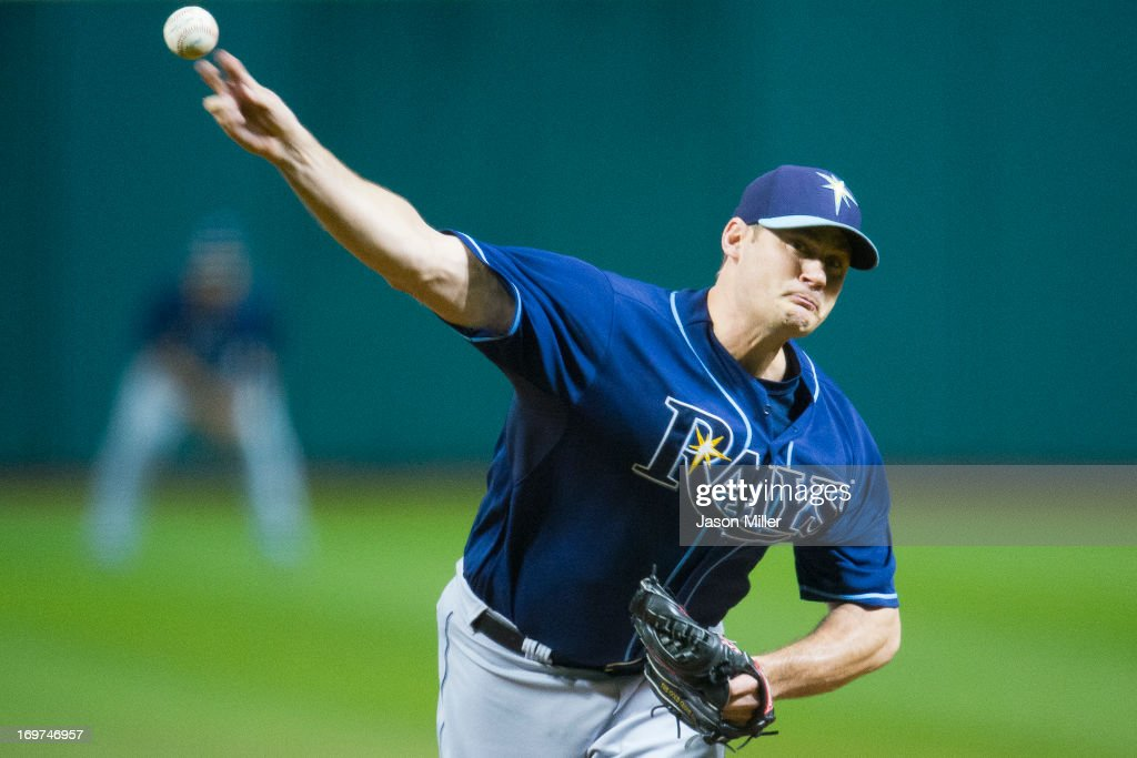 Relief pitcher <a gi-track='captionPersonalityLinkClicked' href=/galleries/search?phrase=Jamey+Wright+-+Baseball+Player&family=editorial&specificpeople=220683 ng-click='$event.stopPropagation()'>Jamey Wright</a> #35 of the Tampa Bay Rays pitches during the second inning against the Cleveland Indians at Progressive Field on June 1, 2013 in Cleveland, Ohio.