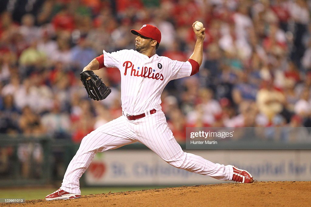 Relief pitcher JC Romero of the Philadelphia Phillies throws a pitch during a game against the Chicago Cubs at Citizens Bank Park on June 9 2011 in...