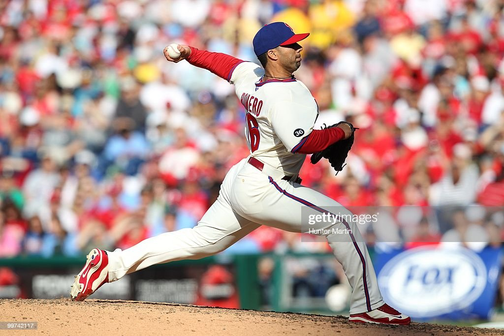 Relief pitcher JC Romero of the Philadelphia Phillies throws a pitch during a game against the Atlanta Braves at Citizens Bank Park on May 8 2010 in...