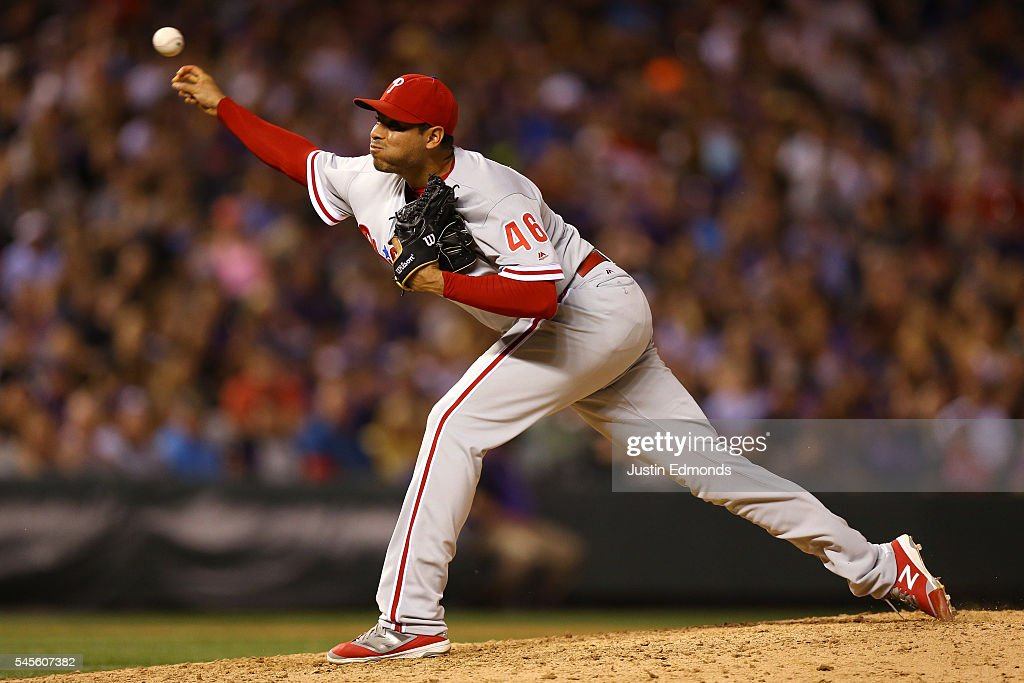 Relief pitcher Jeanmar Gomez #46 of the Philadelphia Phillies delivers to home plate during the ninth inning against the Colorado Rockies at Coors Field on July 8, 2016 in Denver, Colorado. The Phillies defeated the Rockies 5-3.