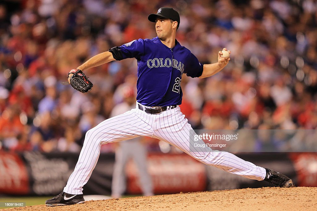 Relief pitcher Jeff Francis of the Colorado Rockies delivers against the St Louis Cardinals at Coors Field on September 17 2013 in Denver Colorado