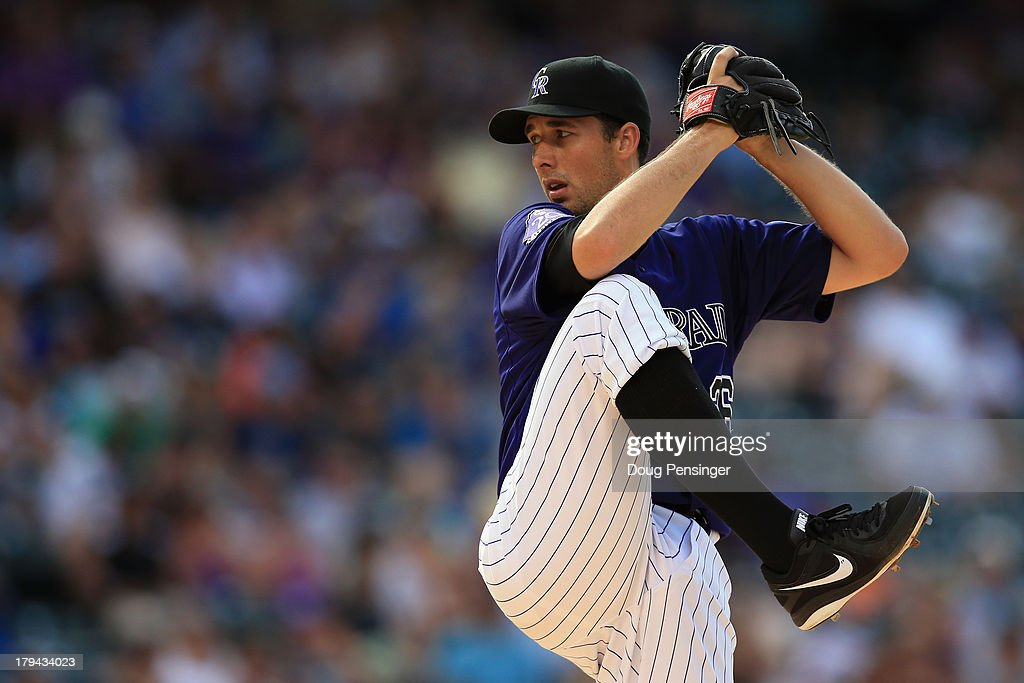 Relief pitcher Jeff Francis of the Colorado Rockies works against the Los Angeles Dodgers at Coors Field on September 2 2013 in Denver Colorado The...