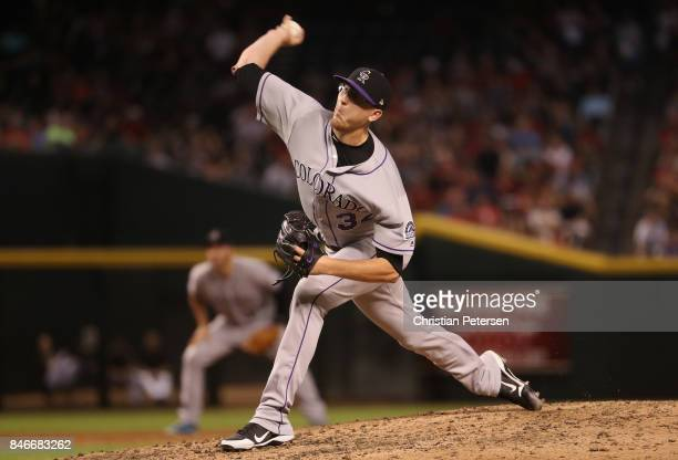 Relief pitcher Jeff Hoffman of the Colorado Rockies pitches against the Arizona Diamondbacks during fifth inning of the MLB game at Chase Field on...