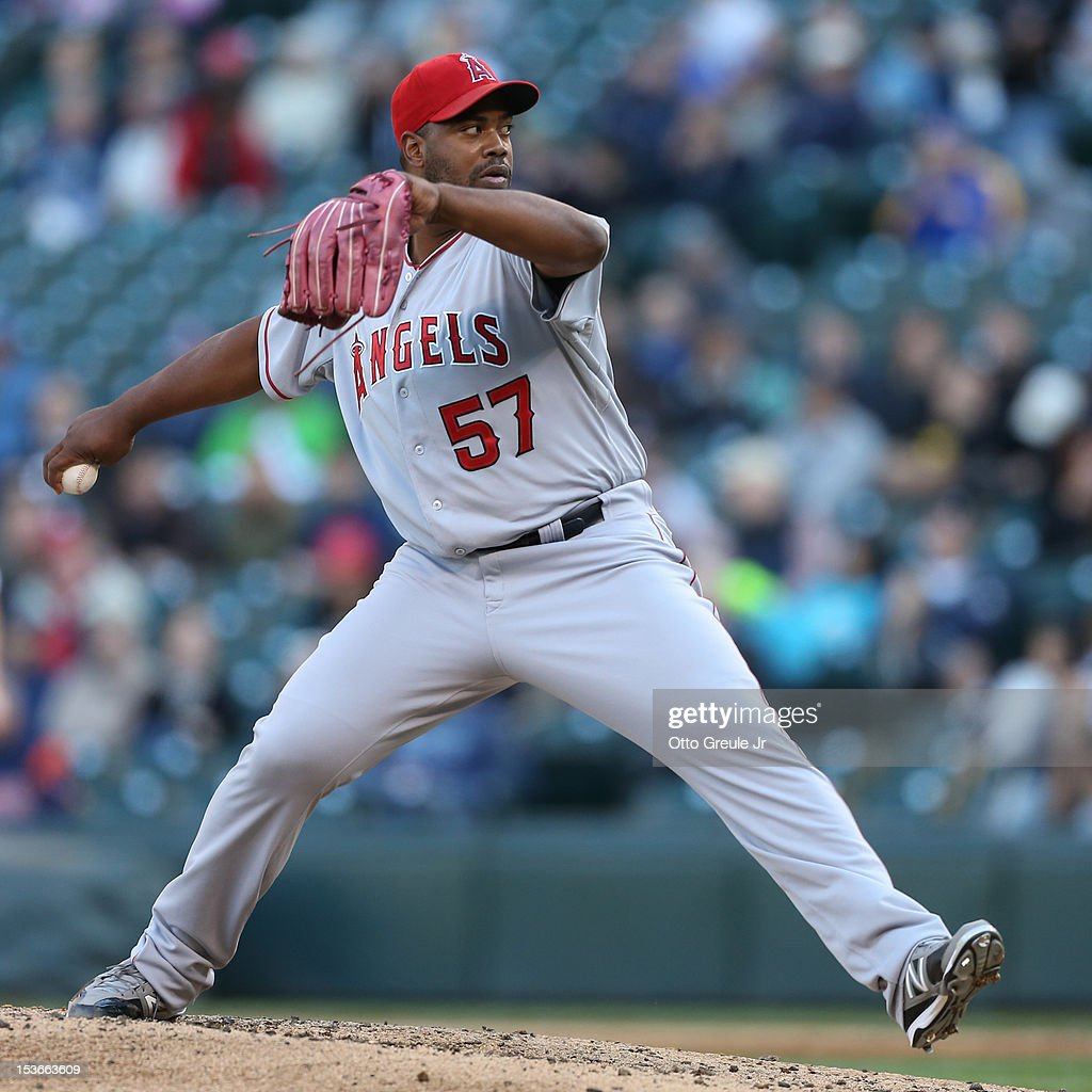 Relief pitcher Jerome Williams #57 of the Los Angeles Angels of Anaheim pitches against the Seattle Mariners at Safeco Field on October 3, 2012 in Seattle, Washington.