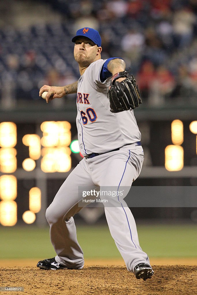Relief pitcher <a gi-track='captionPersonalityLinkClicked' href=/galleries/search?phrase=Jon+Rauch&family=editorial&specificpeople=242989 ng-click='$event.stopPropagation()'>Jon Rauch</a> #60 of the New York Mets throws a pitch during a game against the Philadelphia Phillies at Citizens Bank Park on May 8, 2012 in Philadelphia, Pennsylvania. The Mets won 7-4.