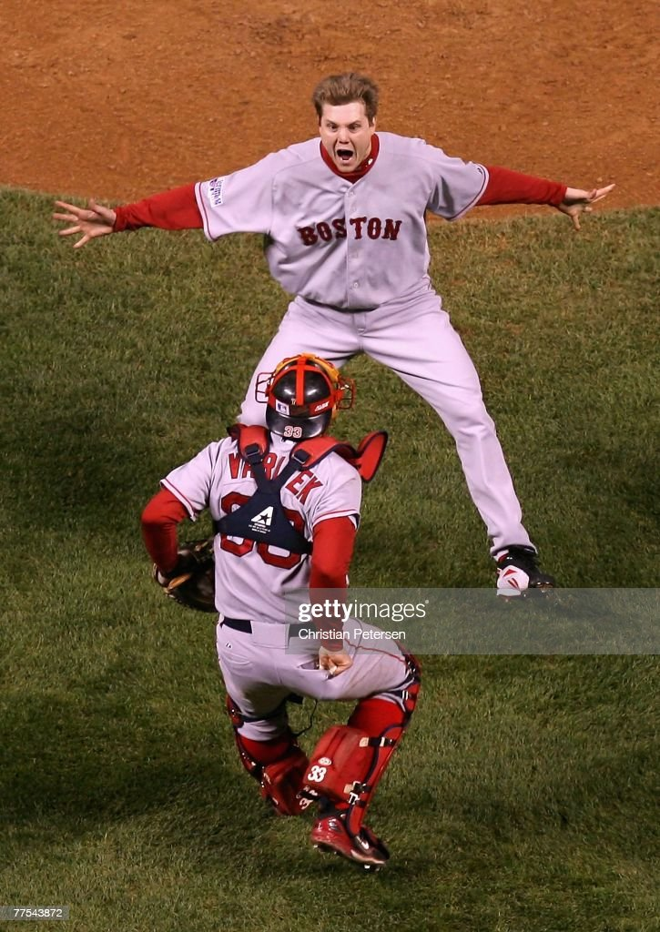 Relief pitcher Jonathan Papelbon #58 of the Boston Red Sox celebrates with Jason Varitek #33 after defeating the Colorado Rockies in Game Four of the 2007 World Series at Coors Field on October 28, 2007 in Denver, Colorado The Red Sox defeated the Rockies 4-3 and won the World Series 4-0.