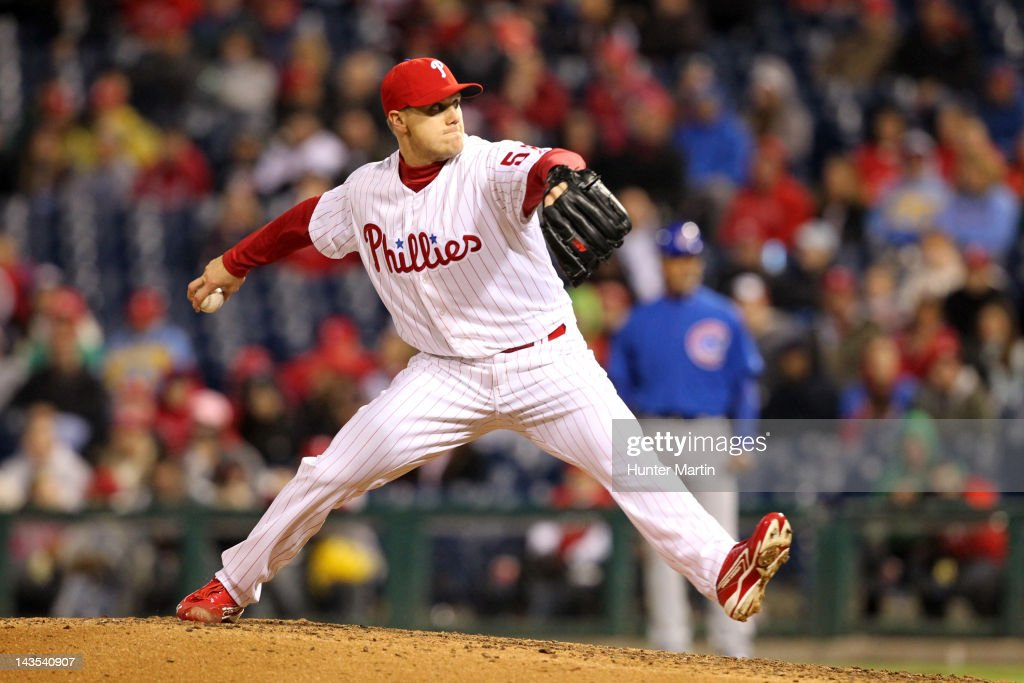 Relief pitcher <a gi-track='captionPersonalityLinkClicked' href=/galleries/search?phrase=Jonathan+Papelbon&family=editorial&specificpeople=453535 ng-click='$event.stopPropagation()'>Jonathan Papelbon</a> #58 of the Philadelphia Phillies throws a pitch during a game against the Chicago Cubs at Citizens Bank Park on April 28, 2012 in Philadelphia, Pennsylvania. The Phillies won 5-2.