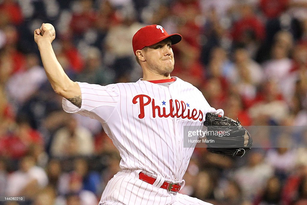 Relief pitcher <a gi-track='captionPersonalityLinkClicked' href=/galleries/search?phrase=Jonathan+Papelbon&family=editorial&specificpeople=453535 ng-click='$event.stopPropagation()'>Jonathan Papelbon</a> #58 of the Philadelphia Phillies throws a pitch during a game against the San Diego Padres at Citizens Bank Park on May 12, 2012 in Philadelphia, Pennsylvania. The Padres won 2-1.