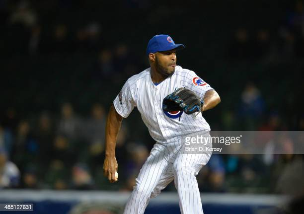 Relief pitcher Jose Veras of the Chicago Cubs delivers during the ninth inning against the Pittsburgh Pirates at Wrigley Field on April 8 2014 in...
