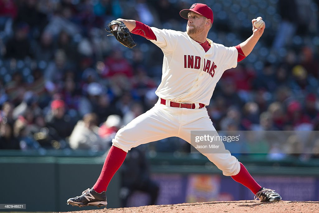 Relief pitcher <a gi-track='captionPersonalityLinkClicked' href=/galleries/search?phrase=Josh+Outman&family=editorial&specificpeople=4900182 ng-click='$event.stopPropagation()'>Josh Outman</a> #88 of the Cleveland Indians pitches during the eighth inning against the Minnesota Twins at Progressive Field on April 5, 2014 in Cleveland, Ohio.