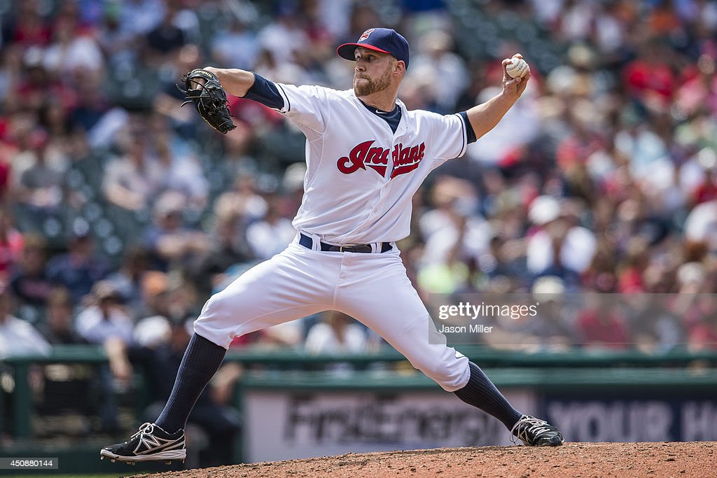 Relief pitcher <a gi-track='captionPersonalityLinkClicked' href=/galleries/search?phrase=Josh+Outman&family=editorial&specificpeople=4900182 ng-click='$event.stopPropagation()'>Josh Outman</a> #88 of the Cleveland Indians pitches in the eighth inning during the game against the Detroit Tigers at Progressive Field on May 21, 2014 in Cleveland, Ohio.