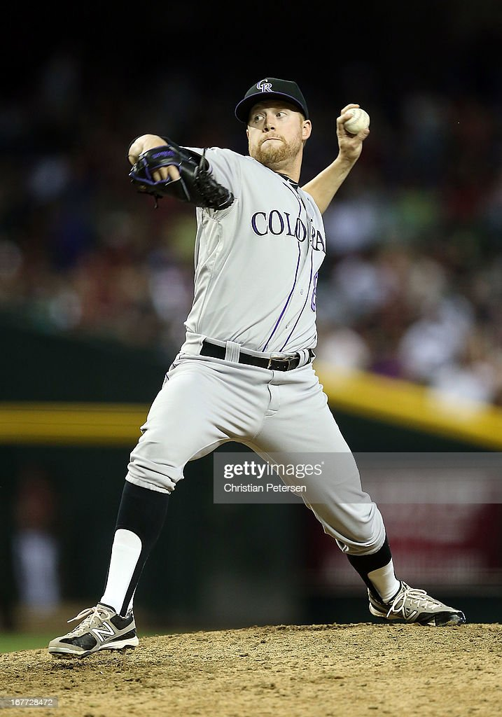 Relief pitcher <a gi-track='captionPersonalityLinkClicked' href=/galleries/search?phrase=Josh+Outman&family=editorial&specificpeople=4900182 ng-click='$event.stopPropagation()'>Josh Outman</a> #88 of the Colorado Rockies pitches against the Arizona Diamondbacks during the MLB game at Chase Field on April 28, 2013 in Phoenix, Arizona. The Diamondbacks defeated the Rockies 4-2.