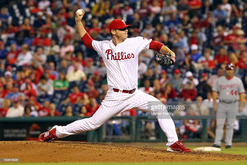 Relief pitcher Justin De Fratus #79 of the Philadelphia Phillies throws a pitch during a game against the Washington Nationals at Citizens Bank Park on September 26, 2012 in Philadelphia, Pennsylvania. The Nationals won 8-4.