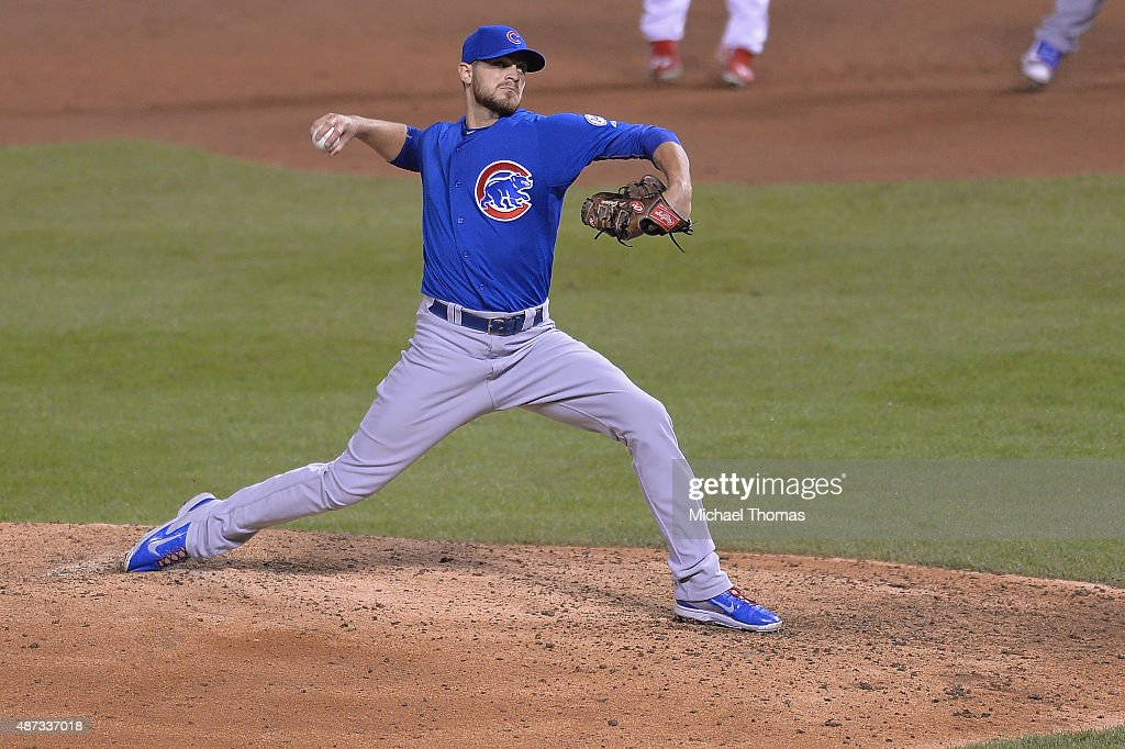Relief pitcher Justin Grimm of the Chicago Cubs pitches against the St Louis Cardinals in the seventh inning at Busch Stadium on September 8 2015 in...