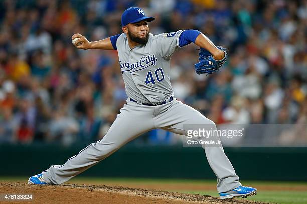 Relief pitcher Kelvin Herrera of the Kansas City Royals pitches against the Seattle Mariners in the seventh inning at Safeco Field on June 22 2015 in...
