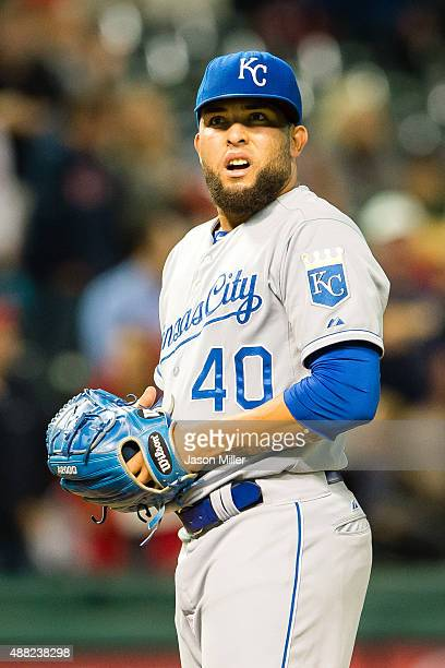 Relief pitcher Kelvin Herrera of the Kansas City Royals reacts after giving up three run to Cleveland Indians during the seventh inning at...
