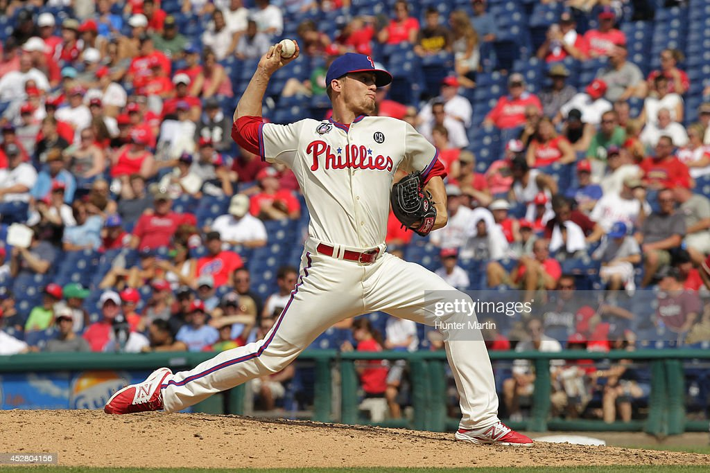 Relief pitcher <a gi-track='captionPersonalityLinkClicked' href=/galleries/search?phrase=Ken+Giles&family=editorial&specificpeople=12492885 ng-click='$event.stopPropagation()'>Ken Giles</a> #53 of the Philadelphia Phillies throws a pitch in the eighth inning during a game against the Arizona Diamondbacks at Citizens Bank Park on July 27, 2014 in Philadelphia, Pennsylvania. The Phillies won 4-2.