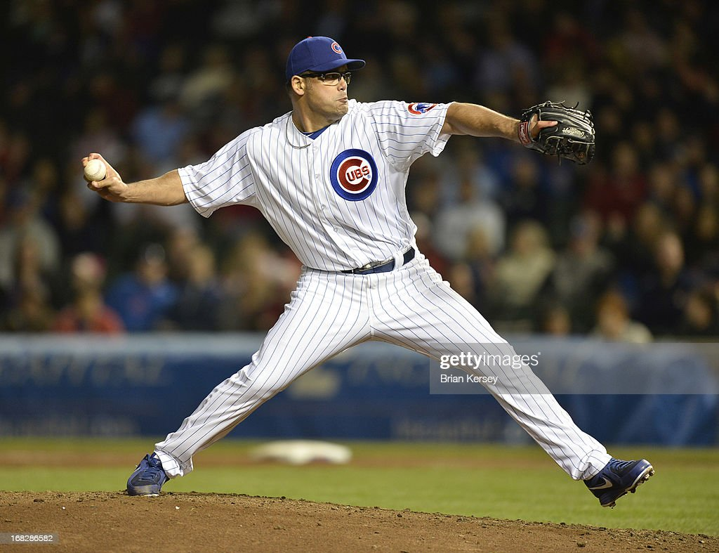 Relief pitcher <a gi-track='captionPersonalityLinkClicked' href=/galleries/search?phrase=Kevin+Gregg&family=editorial&specificpeople=240417 ng-click='$event.stopPropagation()'>Kevin Gregg</a> #63 of the Chicago Cubs delivers during the ninth inning against the St. Louis Cardinals on May 7, 2013 at Wrigley Field in Chicago, Illinois. The Cubs defeated the Cardinals 2-1.