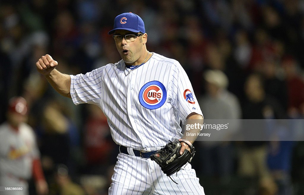 Relief pitcher <a gi-track='captionPersonalityLinkClicked' href=/galleries/search?phrase=Kevin+Gregg&family=editorial&specificpeople=240417 ng-click='$event.stopPropagation()'>Kevin Gregg</a> #63 of the Chicago Cubs reacts after the final out of the ninth inning against the St. Louis Cardinals on May 7, 2013 at Wrigley Field in Chicago, Illinois. The Cubs defeated the Cardinals 2-1.