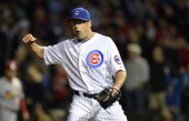 Relief pitcher Kevin Gregg of the Chicago Cubs reacts after the final out of the ninth inning against the St Louis Cardinals on May 7 2013 at Wrigley...