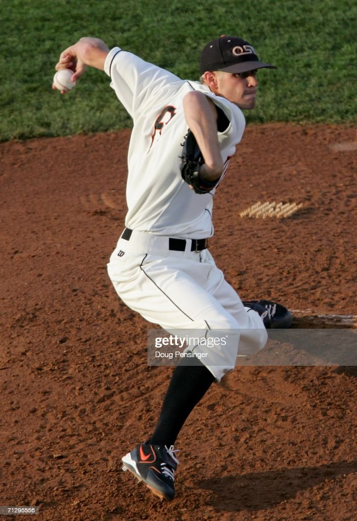 Relief pitcher Kevin Gunderson of the Oregon State Beavers delivers a pitch as he earned the win as the Beavers defeated the North Carolina Tar Heels...
