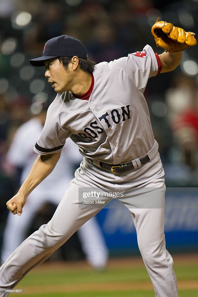 Relief pitcher <a gi-track='captionPersonalityLinkClicked' href=/galleries/search?phrase=Koji+Uehara&family=editorial&specificpeople=801278 ng-click='$event.stopPropagation()'>Koji Uehara</a> #19 of the Boston Red Sox pitches during the eighth inning against the Cleveland Indians at Progressive Field on April 17, 2013 in Cleveland, Ohio. The Red Sox defeated the Indians 6-3.
