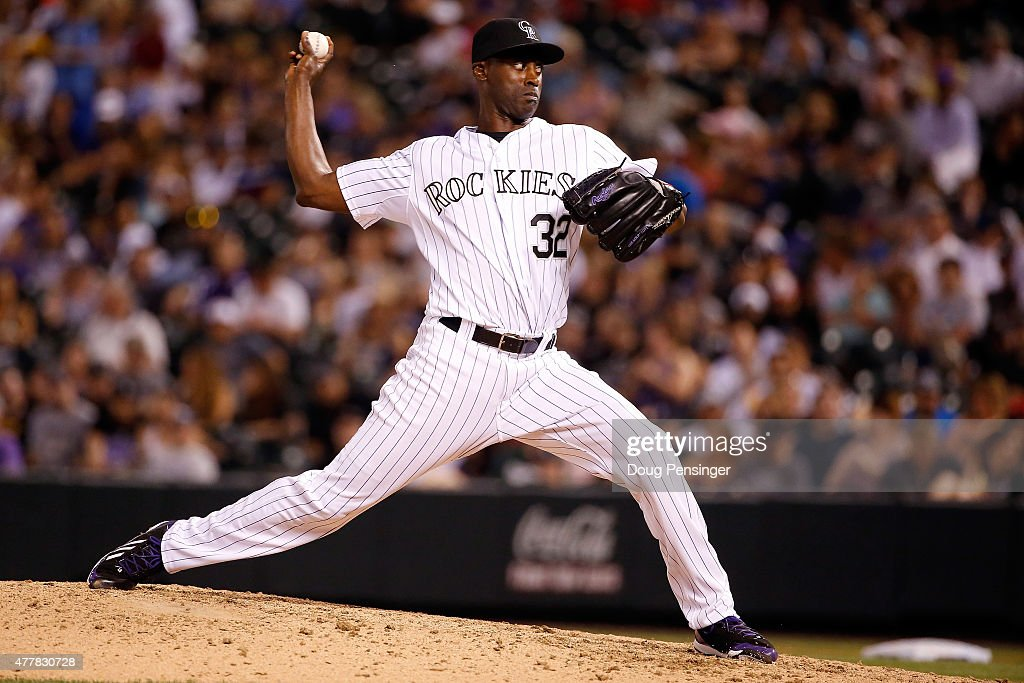 Relief pitcher LaTroy Hawkins of the Colorado Rockies delivers against the Milwaukee Brewers at Coors Field on June 19 2015 in Denver Colorado The...