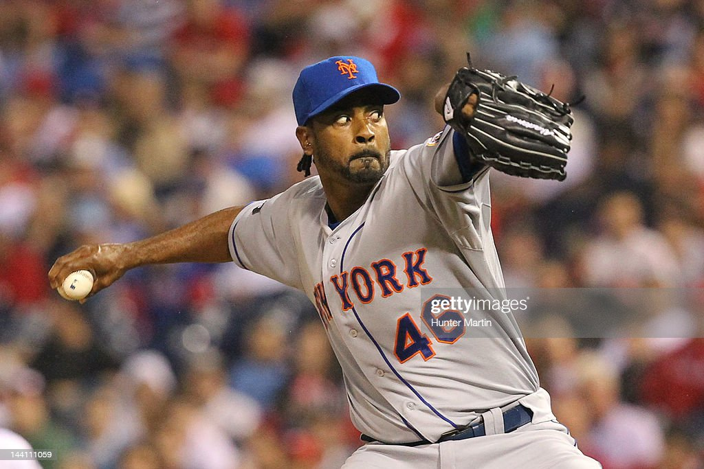Relief pitcher <a gi-track='captionPersonalityLinkClicked' href=/galleries/search?phrase=Manny+Acosta&family=editorial&specificpeople=4164808 ng-click='$event.stopPropagation()'>Manny Acosta</a> #46 of the New York Mets throws a pitch during a game against the Philadelphia Phillies at Citizens Bank Park on May 9, 2012 in Philadelphia, Pennsylvania.