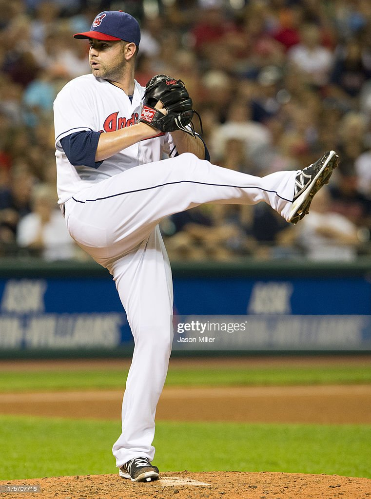 Relief pitcher <a gi-track='captionPersonalityLinkClicked' href=/galleries/search?phrase=Marc+Rzepczynski&family=editorial&specificpeople=6134203 ng-click='$event.stopPropagation()'>Marc Rzepczynski</a> #35 of the Cleveland Indians pitches during the eighth inning against the Detroit Tigers at Progressive Field on August 6, 2013 in Cleveland, Ohio. The Tigers defeated the Indians 5-1.
