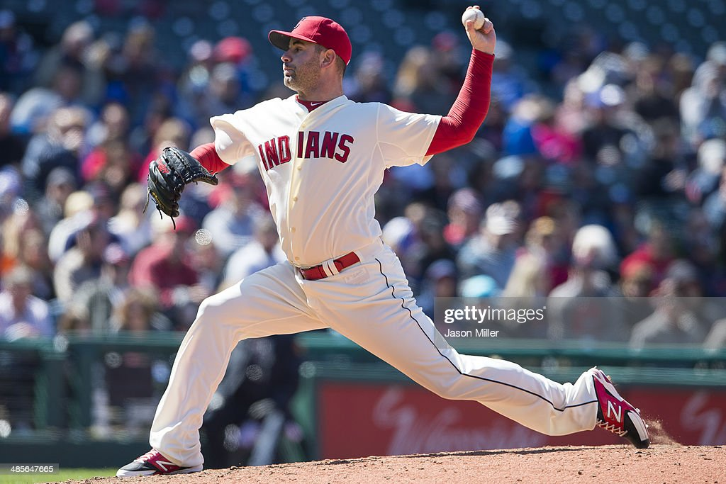 Relief pitcher <a gi-track='captionPersonalityLinkClicked' href=/galleries/search?phrase=Marc+Rzepczynski&family=editorial&specificpeople=6134203 ng-click='$event.stopPropagation()'>Marc Rzepczynski</a> #35 of the Cleveland Indians pitches during the seventh inning against the Toronto Blue Jays at Progressive Field on April 19, 2014 in Cleveland, Ohio.