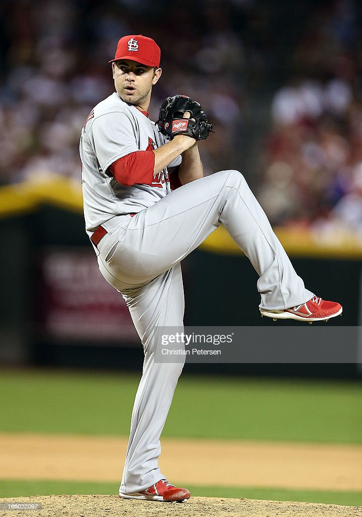 Relief pitcher <a gi-track='captionPersonalityLinkClicked' href=/galleries/search?phrase=Marc+Rzepczynski&family=editorial&specificpeople=6134203 ng-click='$event.stopPropagation()'>Marc Rzepczynski</a> #34 of the St. Louis Cardinals pitches against the Arizona Diamondbacks during the MLB Opening Day game at Chase Field on April 1, 2013 in Phoenix, Arizona. The Diamondbacks defeated the Cardinals 6-2.