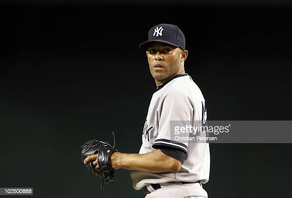 Relief pitcher Mariano Rivera of the New York Yankees pitches against the Arizona Diamondbacks during the Major League Baseball game at Chase Field...