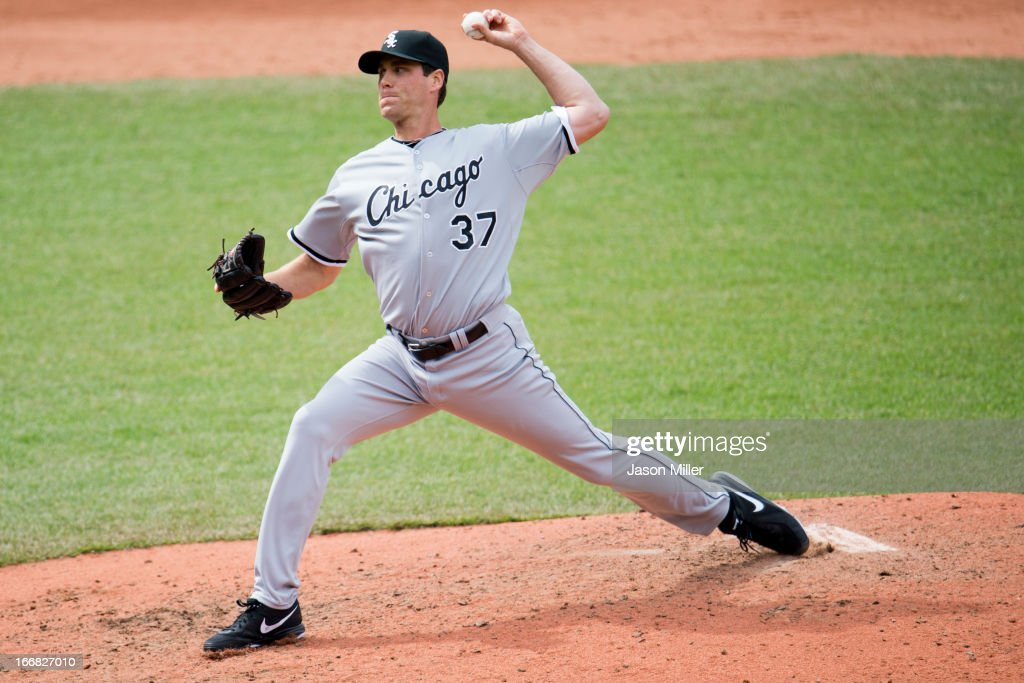 Relief pitcher <a gi-track='captionPersonalityLinkClicked' href=/galleries/search?phrase=Matt+Thornton&family=editorial&specificpeople=240259 ng-click='$event.stopPropagation()'>Matt Thornton</a> #37 of the Chicago White Sox pitches during the eighth inning against the Cleveland Indians at Progressive Field on April 14, 2013 in Cleveland, Ohio. The White Sox defeated the Indians 3-1.