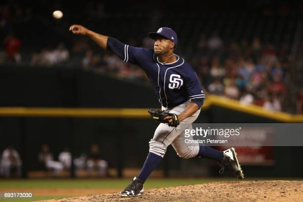 Relief pitcher Miguel Diaz of the San Diego Padres pitches against the Arizona Diamondbacks during the fourth inning of the MLB game at Chase Field...